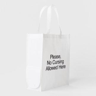Por favor el ningún maldecir permitido aquí bolsa reutilizable