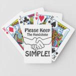 Por favor mantenga el apretón de manos simple baraja de cartas