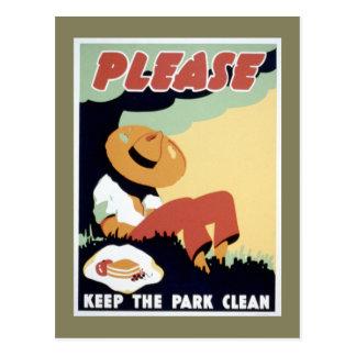 Por favor mantenga el parque limpio postales