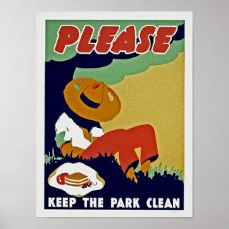 Por favor mantenga el parque limpio póster