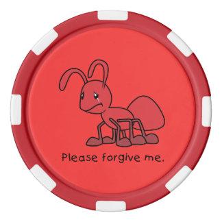Por favor perdóneme la almohada roja gritadora de fichas de póquer