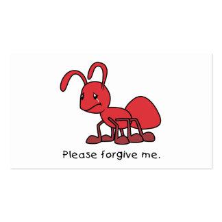 Por favor perdóneme la almohada roja gritadora de plantilla de tarjeta de negocio