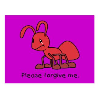Por favor perdóneme la tarjeta roja gritadora de postal