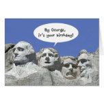 Por George es su cumpleaños, tarjeta del Mt Rushmo
