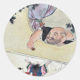 por Hasegawa, Settei Ukiyo-e. Pegatina Redonda