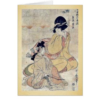 por Kitagawa, Utamaro Ukiyo-e. Tarjetón