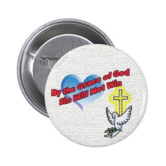 Por la gracia de dios el pecado no ganará el botón pins
