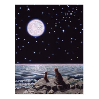Por la luz de la luna de los pescados del gato postal