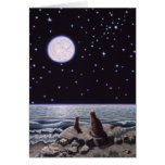 Por la luz de la luna de los pescados del gato tarjeta de felicitación