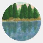 Por la reflexión del agua 3 etiquetas redondas