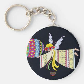 Por las alas de un arte popular ucraniano del ánge llavero personalizado