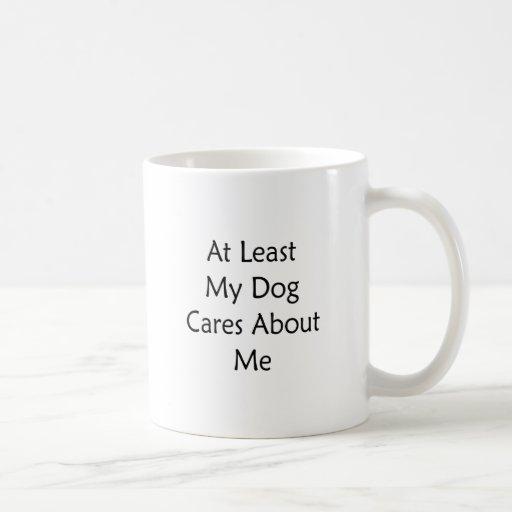 Por lo menos mis cuidados del perro sobre mí taza básica blanca