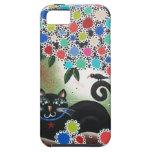 Por Lorri Everett_Day del gato muerto, negro, árbo iPhone 5 Cárcasas