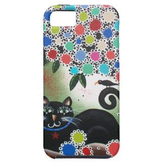 Por Lorri Everett_Day del gato muerto, negro, iPhone 5 Fundas