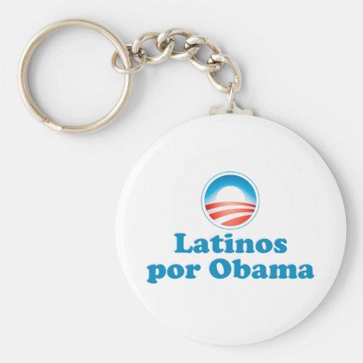 Por Obama de los Latinos Llavero Redondo Tipo Pin