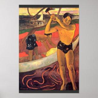 Por Paul Gauguin (la mejor calidad) Póster