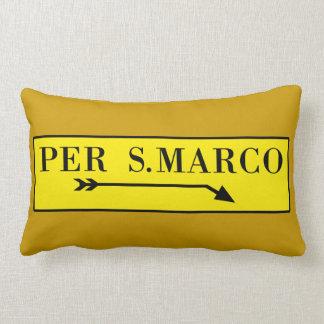 Por San Marco, Venecia, placa de calle italiana Cojin