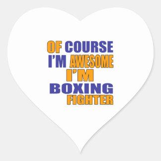 Por supuesto estoy encajonando el combatiente pegatina en forma de corazón