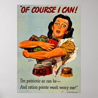 ¡Por supuesto puedo! Propaganda del vintage WWII Póster