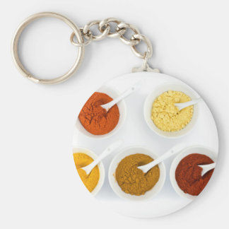 Porcelain bowls with various herbal spices keychain