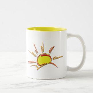 Porcelain Ceramic Sunrise Two-Tone Coffee Mug