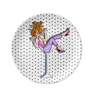 PORCELAIN COCKTAIL PLATES - GIRL IN A MARTINI 1