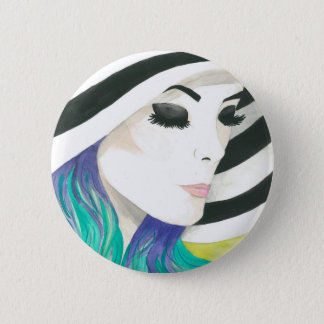 """Porcelain"" Crystal Cross Watercolors Button"