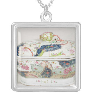 Porcelain dish, 18th century silver plated necklace