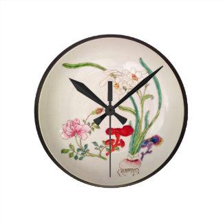 Porcelain dish, famille rose decoration, Yung Chen Wallclocks