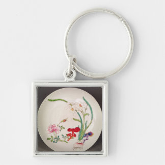Porcelain dish, famille rose decoration, Yung Chen Keychain