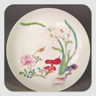 Porcelain dish, famille rose decoration, Yung Chen Stickers