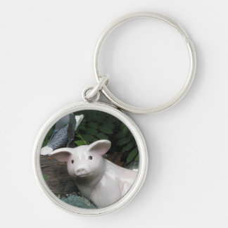 Porcelain Pig Silver-Colored Round Keychain