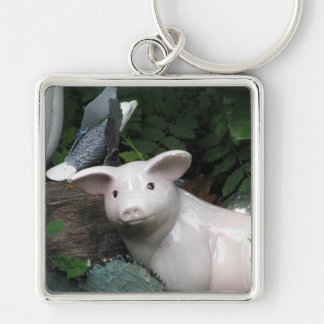 Porcelain Pig Silver-Colored Square Keychain