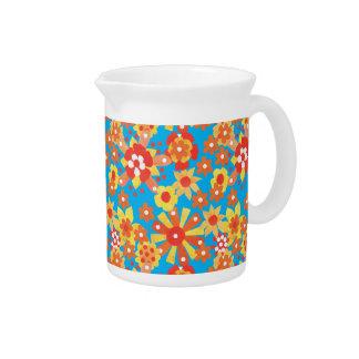 Porcelain Pitcher or Jug with Ditsy Orange Flowers