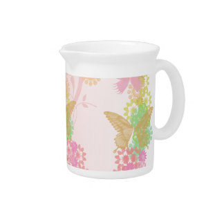 Porcelain Pitcher with Flowers & Butterflies