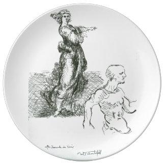 Porcelain Plate After Leonardo Da Vinci