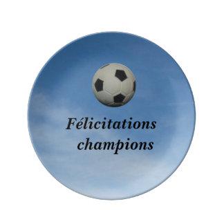 Porcelain plate, Congratulations Champions Platos De Cerámica
