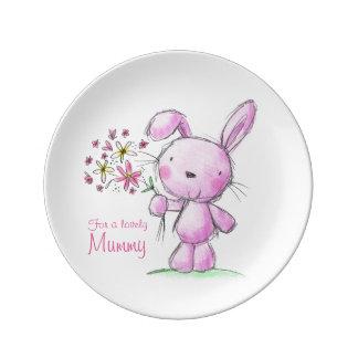 ♥PORCELAIN PLATE ♥ MUMMY cute pink bunny rabbit