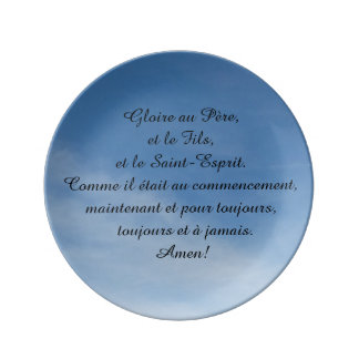 Porcelain plate, with French oration Plate