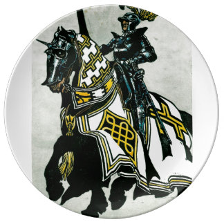 Porcelain Plate with Knight On Horseback