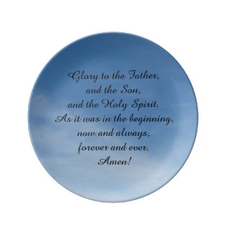 Porcelain plate, with oration in English Dinner Plate