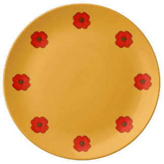 Porcelain plate with red poppy