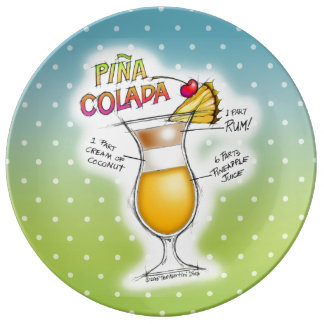 PORCELAIN PLATES - PINA COLADA RECIPE COCKTAIL ART