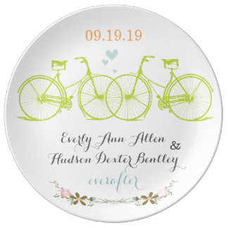 Porcelain Wedding Date Anniversary Bicycle Plate