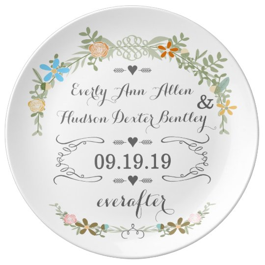 Porcelain wedding date anniversary plate zazzle