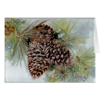 PorcelainPineCones Painting Greeting Cards