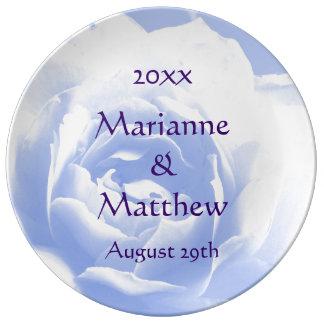 Porcelana color de rosa azul del recuerdo plato de cerámica
