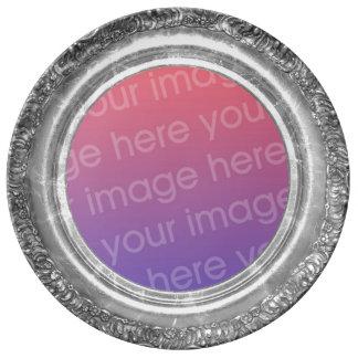 Porcelana de encargo de plata antigua de la foto plato de cerámica