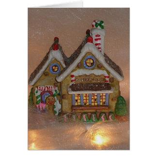 Porcelana de la casa de pan de jengibre tarjeta
