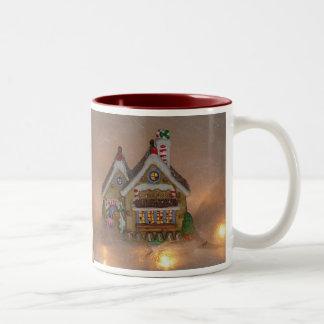 Porcelana de la casa de pan de jengibre taza dos tonos
